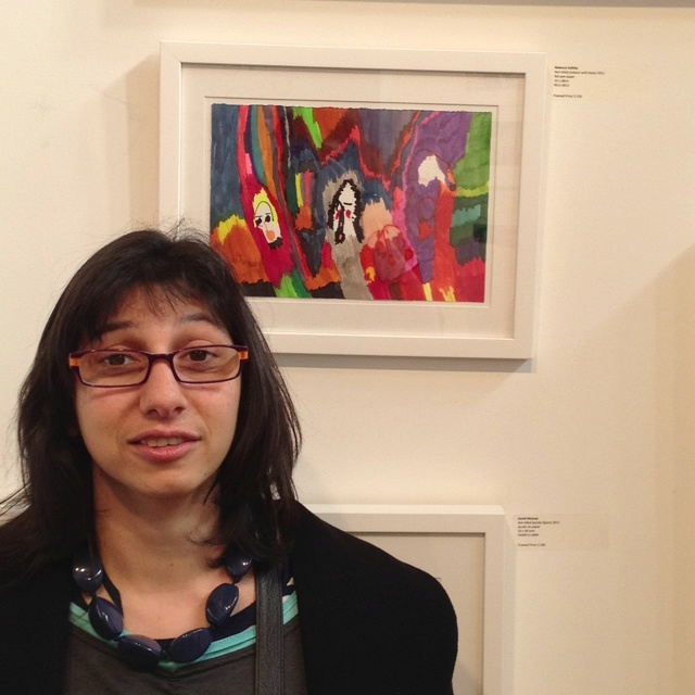 Rebecca Scibilia with her artwork at the Melbourne Art Fair - last day so get in quick!!