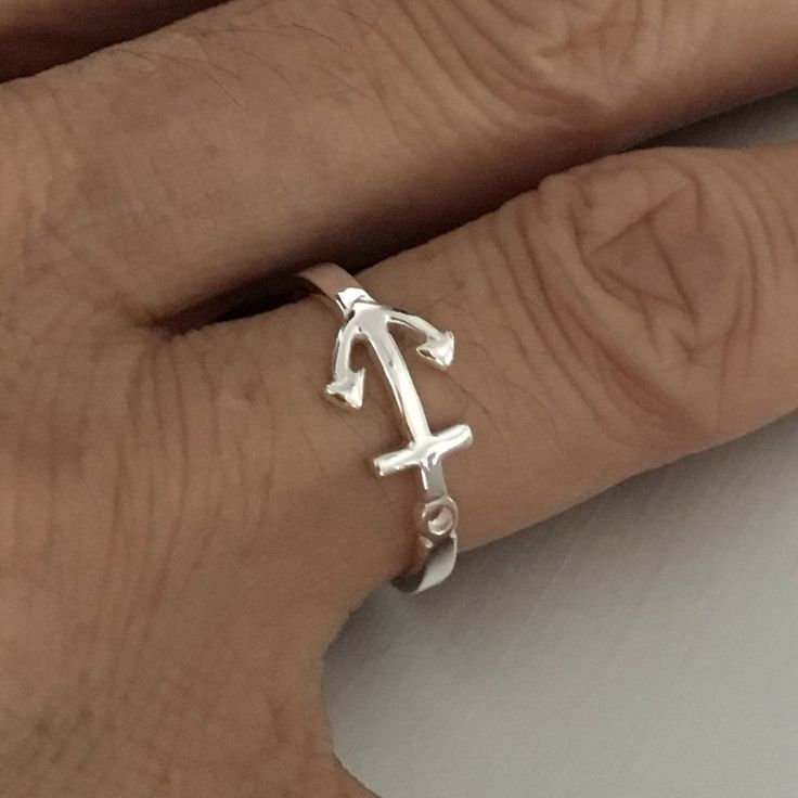 Sterling Silver Anchor Ring, Nautical Ring
