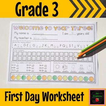 This worksheet is a great activity for the first day or first week of grade 3 or year 3 to give teachers a brief insight into their students abilities. Designed to be completed independently so that teachers can identify areas of need in a quick, easy and non-threatening first day assessment. Use this activity as a fun piece to take home or you can use it as a simple first week assessment. It covers letters, numbers, and basic operations. {third grade, elementary}