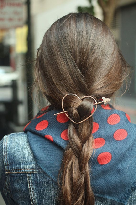 Heart hair slide brass hair clip rustic copper hair barrette large shawl pin scarf pin small simple minimalist metal hair accessory for her