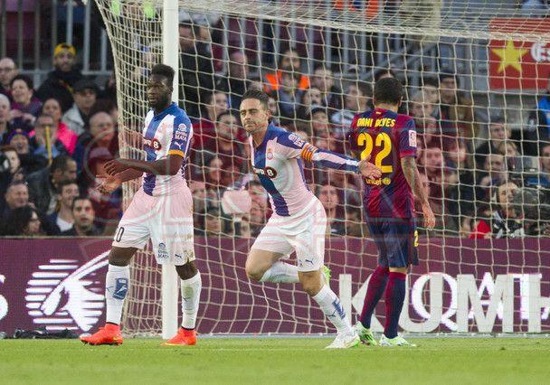 Jugadores del Español celebrando su anotación | Barça, 5 - Espanyol, 1