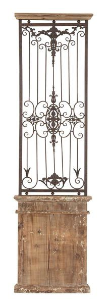 Tuscan French Country Scrolling Iron Wood Wall Gate Grille
