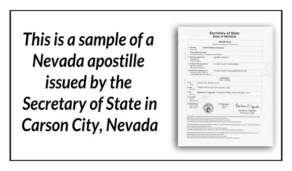 This is a sample of a Nevada apostille issued by the