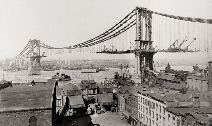 Manhattan Bridge Under Construction, 1901-1910, New York City