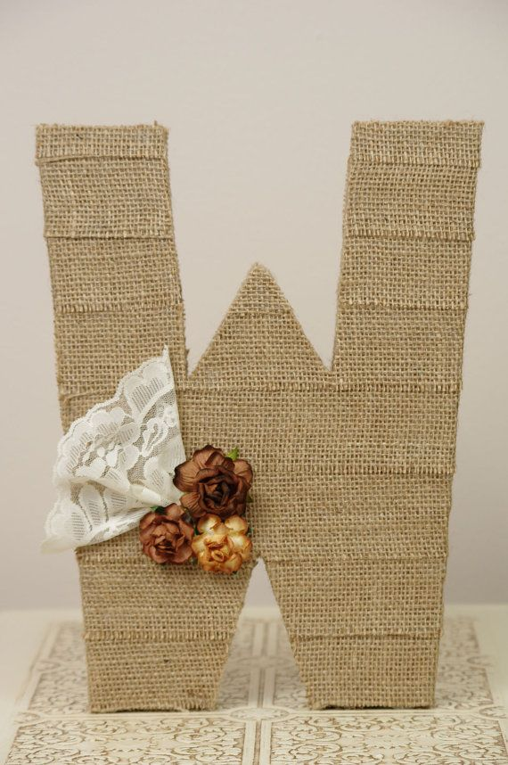 Burlap Covered Letters For Wedding