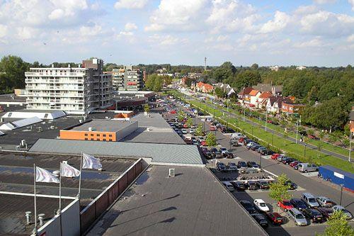 """The Netherlands, Province of Groningen, Hoogezand-Sappemeer - The mall """"De Hooge Meeren"""". The picture was taken from the top floor of an apartment """"Crown Residence"""" in Hoogezand-Sappemeer above the mall """"De Hooge Meeren"""". Right is the Kerkstraat. Harry Brouwer Fotografie."""