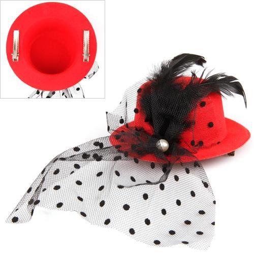 HOT перо Veil зажим для волос Красного Mini Top Hat партии Cosplay гот