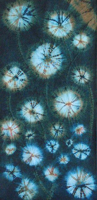 Dandelions in the night by tkikot, via Flickr.  Shibori....aka....tie-dye. Or tie-dye aka Shibori!