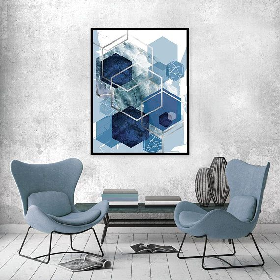 Poster Digital Download Abstract Modern Art In Navy Blue