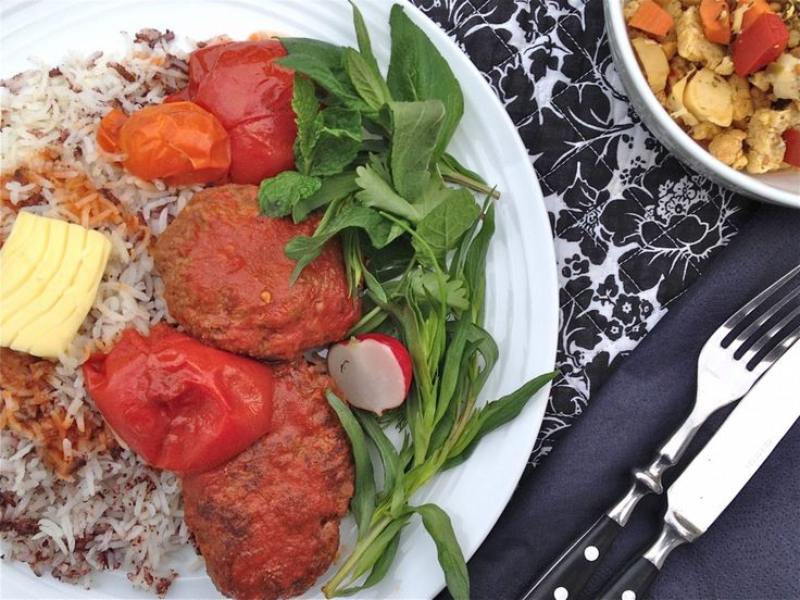 Kabab tabei: Persian Beef Patties in Tomato Sauce with Sumac Rice – The Persian Fusion