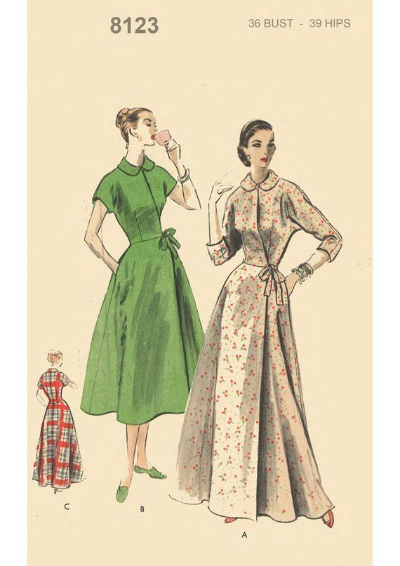 Vintage 1950 S Sewing Pattern Vogue House Coat Robe Dressing Gown Bust 36 Vogue Sewing Patterns Vintage Dress Sewing Patterns Nightgown Pattern