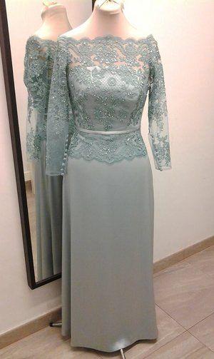 Liliana. Vestido de fiesta en tul bordado y raso verde agua