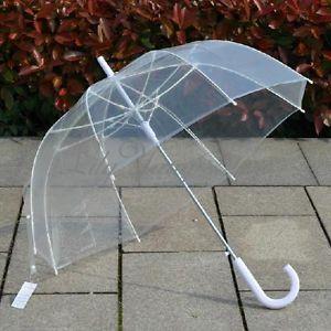 Parapluie-Transparent-Cloche-Automatique-Ouverture-Dome-Canne-Mariage-Umbrella