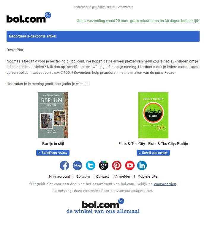 Bol.com - Mooie product review campagne waarbij de klant een cadeabon kan winnen nadat de review is ingevuld.