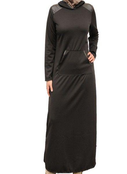 Black Leather Abaya