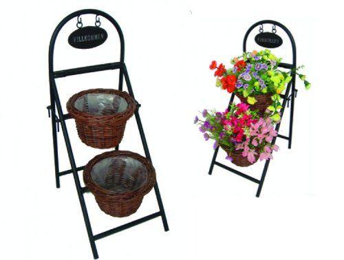 """Blumentreppe mit """"Willkommen""""-Schild aus Metall, Metalldekoration, Gartendekoration, mit 2 Pflanzkörben aus Weide: Amazon.de: Garten"""
