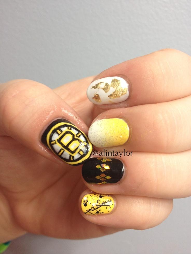Bruins playoff nail art, hockey nails