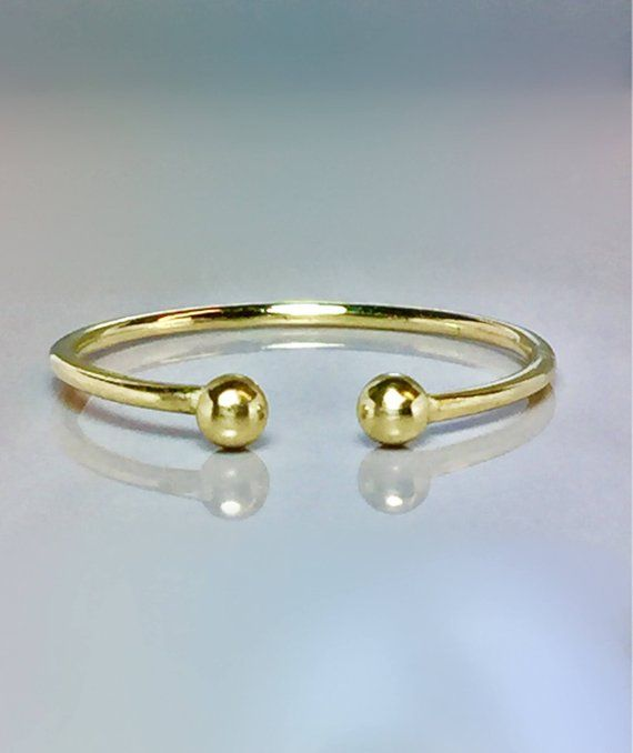 14k 10k Solid Gold Ball Cuff Ring Open Gold Ring Adjustable Gold Ring Gold Toe Ring Gold Midi Ring Gold Pinky Ring Rings Gold Pinky Ring Gold Toe Rings Gold Rings