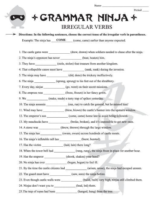 Irregular Verbs Worksheets for 3rd Grade – Irregular Verbs Worksheet 3rd Grade