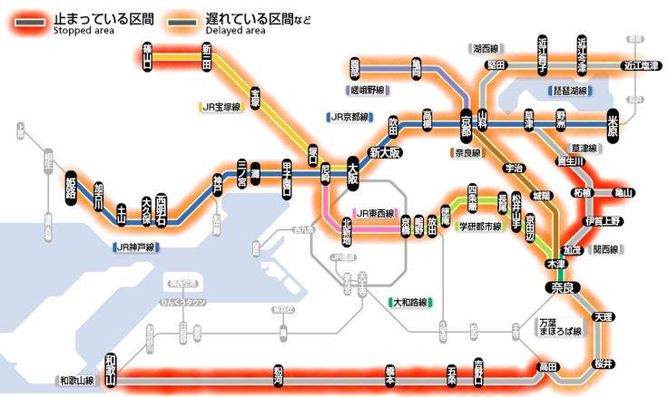京阪神地区の路線図 普段簡単に遅延運休する阪和線が、何故か無事。