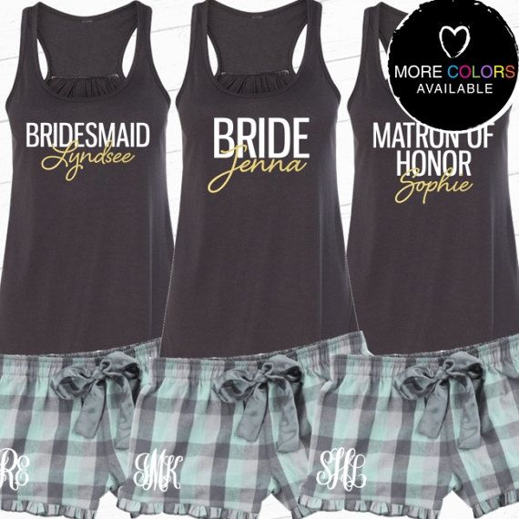For the Bride and her gals! :: Personalized Bridal Party Pajama Set with Flowy by BeforeTheIDos #beforetheidos #bridesmaid #bacheloretteparty