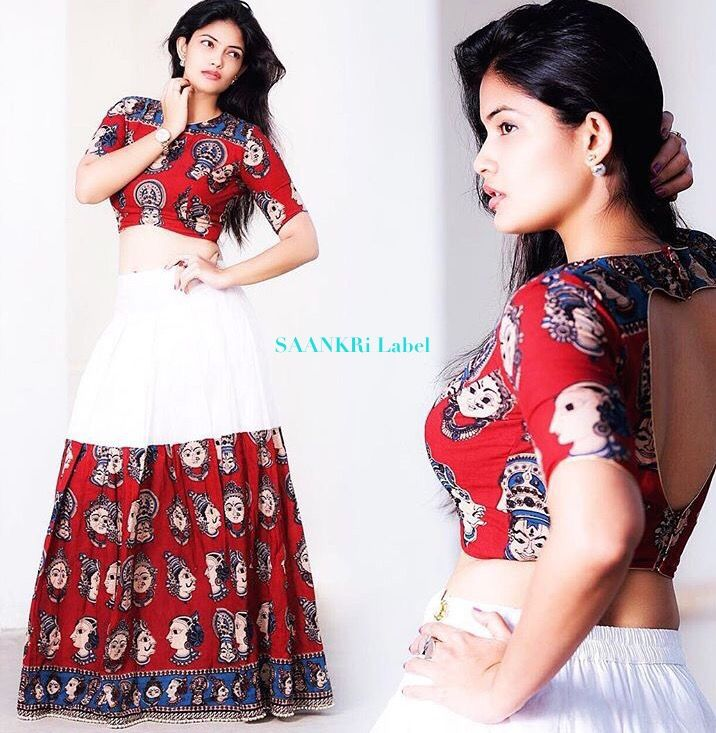 #kalamkari #skirt #designer #crop #croptop #lehenga #red #white