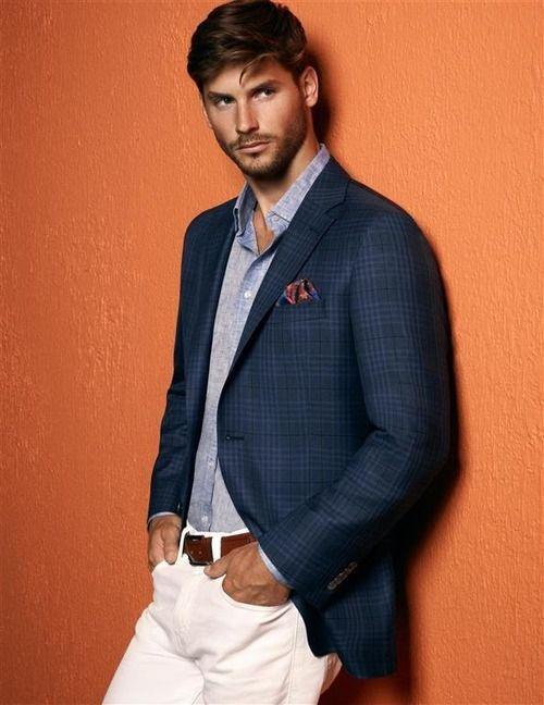 Men's Navy Plaid Blazer, Grey Long Sleeve Shirt, White ...