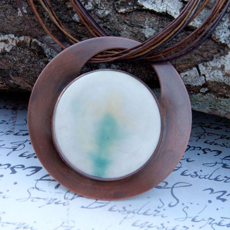 Agate landscapes,copper necklace,c348 ,Copper in pendants,bib necklase,gift for her,agate necklece,handmade necklase,geometric, circle by Artseko on Etsy