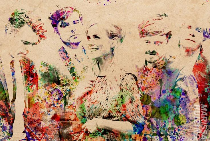 Colorful layered watercolor effect. Photoshop skills.  The Common Linnets