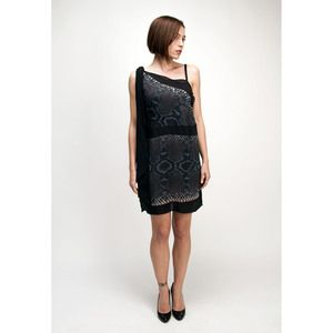 PRADA evening mini black evening cocktail dress with python print | swapshop.gr