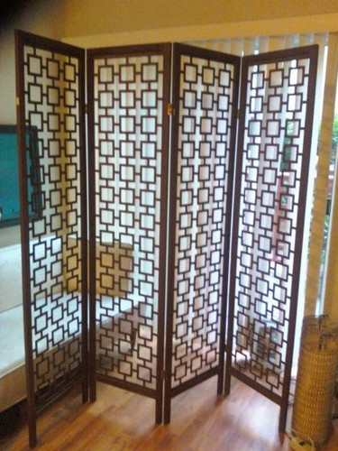 Vintage 60s CHINESE/REGENCY KEY, TEAK? WOOD SCREEN Room Divider, 4-Panel