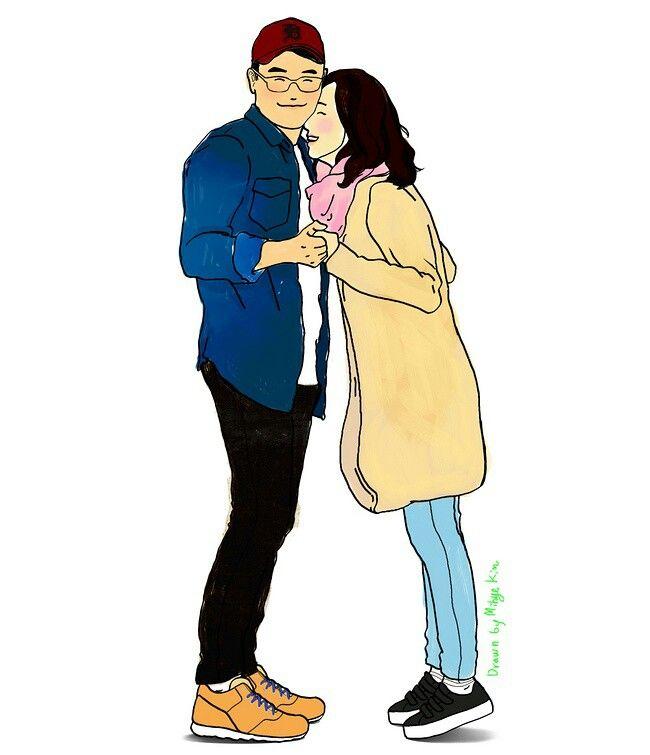 #illust #illustration #couple #portrait #Korean #present #love #together #appreciation #感謝 せよ この#おくりもの を #일러스트 #함께 #감사하기  Copyright ©Mihye-Kim All copyrights reserved
