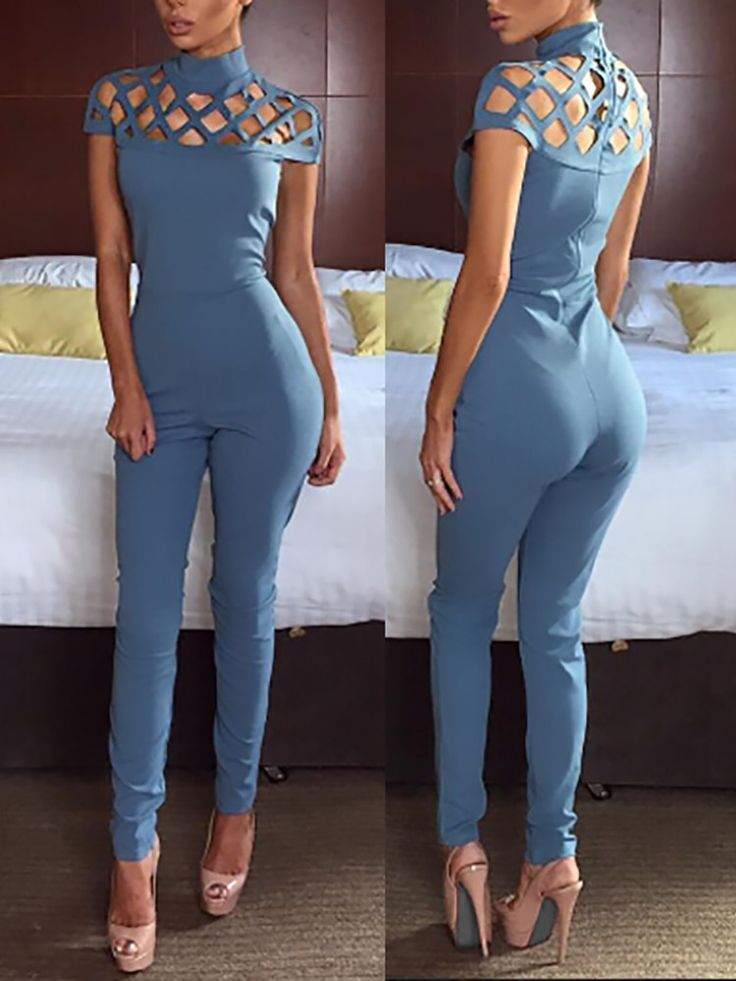 Fashion Women High Neck Cage Hollow-out Jumpsuit