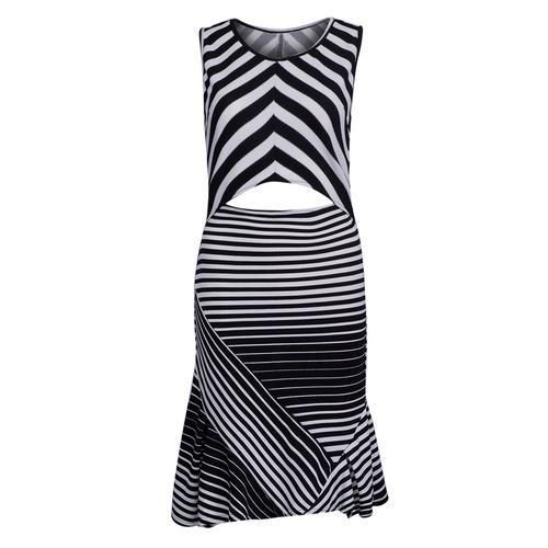 Monochrome Cut Out Detail Ruffle Trim Striped Dress D902-CSAEGV
