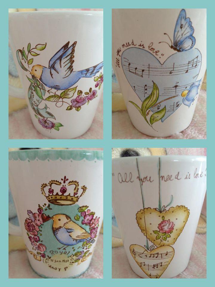 Tazas pintadas a mano ceramicas pinterest fotos - Vajillas pintadas a mano ...