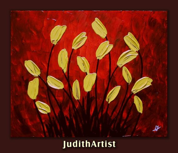 ON SALE50 Off Original abstract yellow tulips by studiox26 on Etsy, $79.00