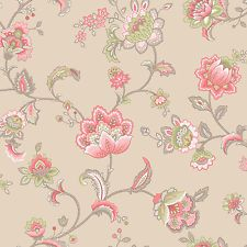 Esme K2 Coral Pink Paisley Floral Feature Wallpaper Holden 11422
