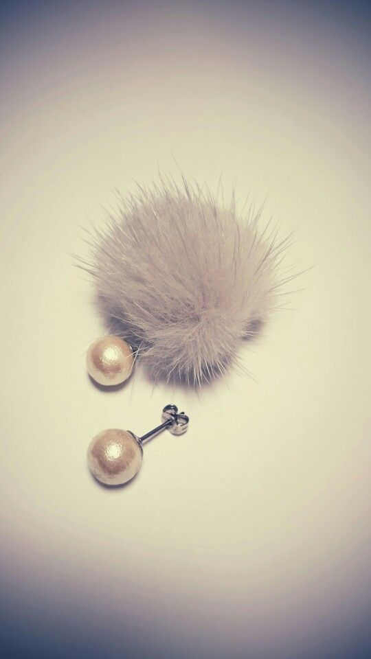 mink ball catch pierced earrings *gray...*