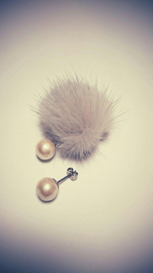 mink ball catch pierced earrings *gray...*