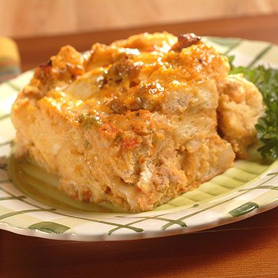 Italian Pumpkin Strata. A dense, creamy vegetable-filled strata, or layered casserole that employs bread, cheese, milk, pumpkin & eggs to create a moist & delicious casserole you can cut into squares or wedges.