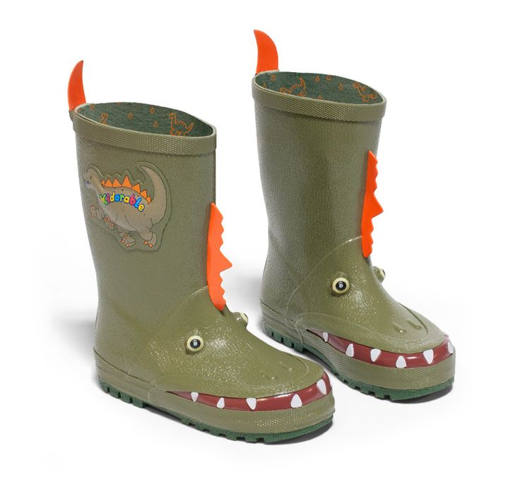 Your little dinosaur will love stomping and romping in these dinosaur toddler rain boots from Kidorable