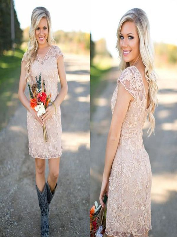 Short Bridesmaid Dress Champagne With Lace Cowboy Boots Country Style Dresses Pd2187 S