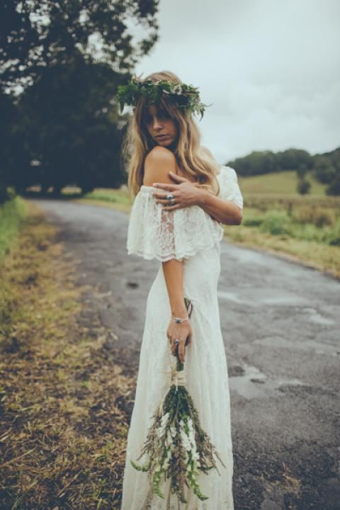 "Off the Shoulder Lace 70s Inspired Hippie Wedding Dress - ""Winnie"" by Daughters of Simone"