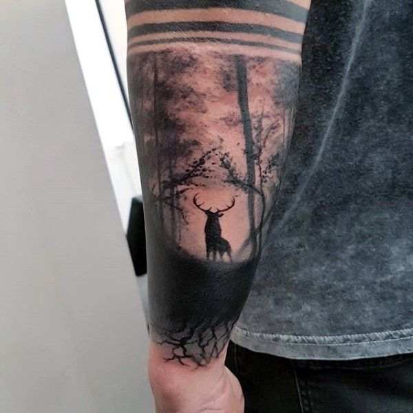 Deer In Empty Forest Guys Outer Forearm Tattoo