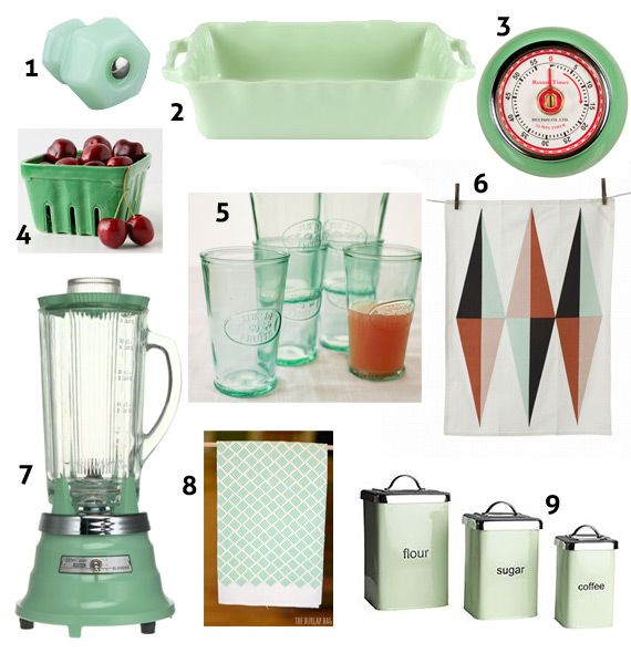 Mint Green Retro Kitchen Accessories