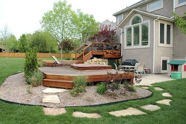 Elevated deck with hot tub under deck google search for Hot tub deck designs plans