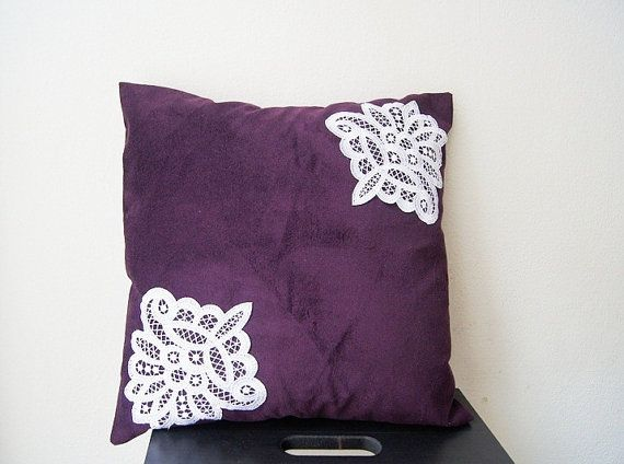 PILLOW / Purple Pillow Cover Lace Throw Pillow by SpecialFabrics