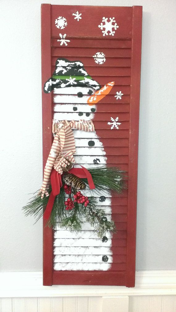 Reclaimed old wooden shutter    One of a kind unique winter décor!!! Hand painted snowman with raised snowflake accents. Adorable scarf and                                                                                                                                                                                 More