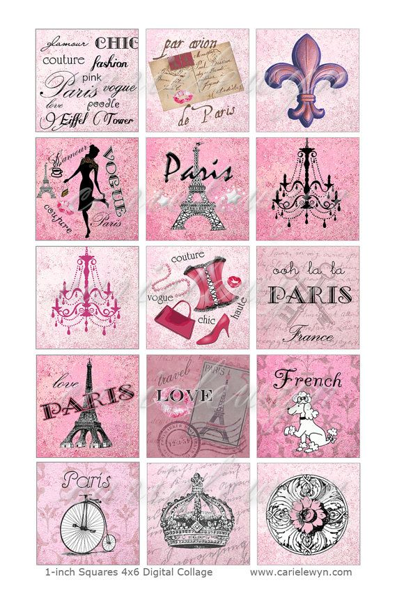 Paris 1-Inch Squares / French Theme Printable Digital Collage / Pink Black / chic poodle eiffel chandelier france fashion / Instant Download