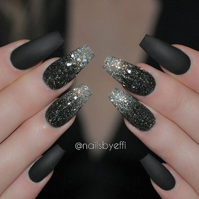 Black Matte gel with Black diamont and Silver Blizzard glitter♥♥♥ @hudabeauty #hudabeauty Nail Design, Nail Art, Nail Salon, Irvine, Newport Beach